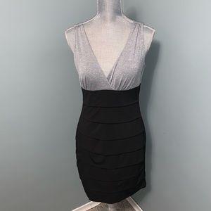 Enfocus studio sparkly grey and black dress medium